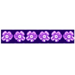 Purple Flower Pattern On Blue Flano Scarf (large)