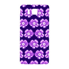 Purple Flower Pattern On Blue Samsung Galaxy Alpha Hardshell Back Case