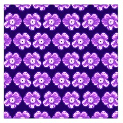 Purple Flower Pattern On Blue Large Satin Scarf (square)