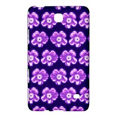 Purple Flower Pattern On Blue Samsung Galaxy Tab 4 (7 ) Hardshell Case  by Costasonlineshop