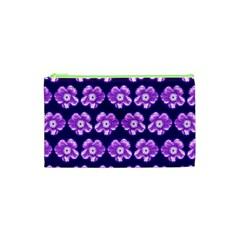 Purple Flower Pattern On Blue Cosmetic Bag (xs) by Costasonlineshop