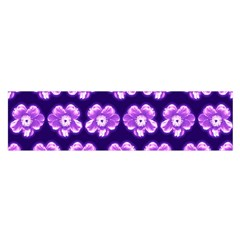 Purple Flower Pattern On Blue Satin Scarf (oblong)