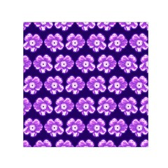 Purple Flower Pattern On Blue Small Satin Scarf (square) by Costasonlineshop