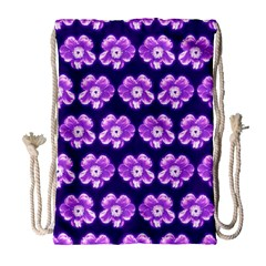 Purple Flower Pattern On Blue Drawstring Bag (large) by Costasonlineshop