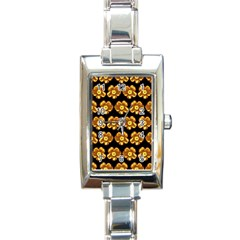 Yellow Brown Flower Pattern On Brown Rectangle Italian Charm Watch by Costasonlineshop
