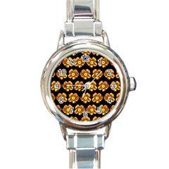 Yellow Brown Flower Pattern On Brown Round Italian Charm Watch