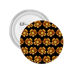 Yellow Brown Flower Pattern On Brown 2 25  Buttons