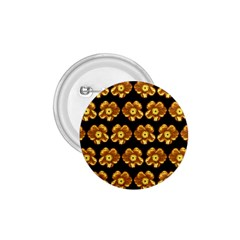 Yellow Brown Flower Pattern On Brown 1 75  Buttons