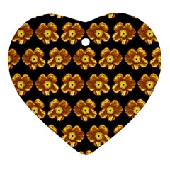 Yellow Brown Flower Pattern On Brown Ornament (heart)  by Costasonlineshop
