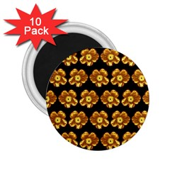 Yellow Brown Flower Pattern On Brown 2 25  Magnets (10 Pack)  by Costasonlineshop