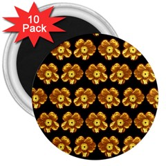 Yellow Brown Flower Pattern On Brown 3  Magnets (10 Pack)  by Costasonlineshop