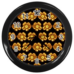 Yellow Brown Flower Pattern On Brown Wall Clocks (black)