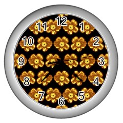 Yellow Brown Flower Pattern On Brown Wall Clocks (silver)