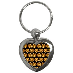 Yellow Brown Flower Pattern On Brown Key Chains (heart)  by Costasonlineshop