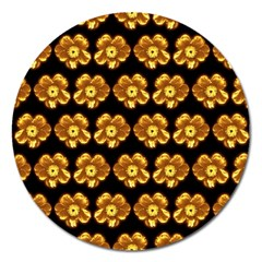 Yellow Brown Flower Pattern On Brown Magnet 5  (round)