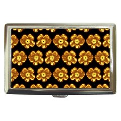 Yellow Brown Flower Pattern On Brown Cigarette Money Cases by Costasonlineshop