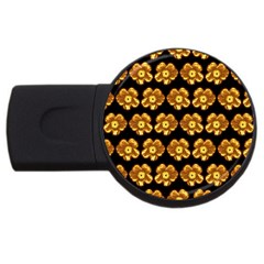 Yellow Brown Flower Pattern On Brown Usb Flash Drive Round (2 Gb)  by Costasonlineshop