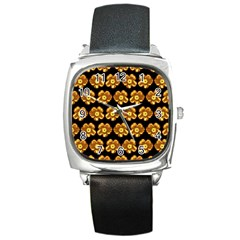 Yellow Brown Flower Pattern On Brown Square Metal Watch by Costasonlineshop