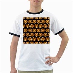 Yellow Brown Flower Pattern On Brown Ringer T Shirts by Costasonlineshop