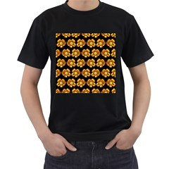 Yellow Brown Flower Pattern On Brown Men s T Shirt (black) (two Sided)