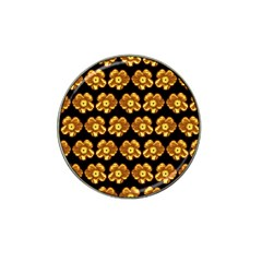 Yellow Brown Flower Pattern On Brown Hat Clip Ball Marker (10 Pack)