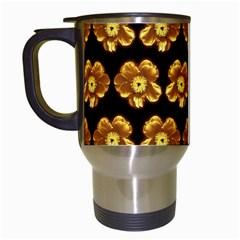 Yellow Brown Flower Pattern On Brown Travel Mugs (white)