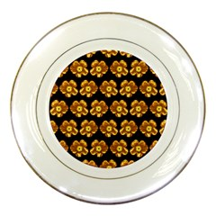 Yellow Brown Flower Pattern On Brown Porcelain Plates by Costasonlineshop