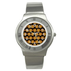 Yellow Brown Flower Pattern On Brown Stainless Steel Watch