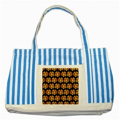 Yellow Brown Flower Pattern On Brown Striped Blue Tote Bag by Costasonlineshop