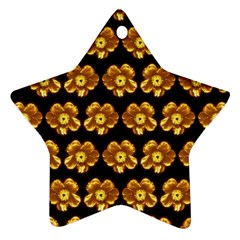 Yellow Brown Flower Pattern On Brown Star Ornament (two Sides)