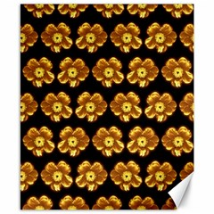 Yellow Brown Flower Pattern On Brown Canvas 8  X 10