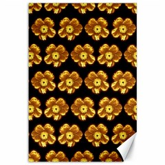 Yellow Brown Flower Pattern On Brown Canvas 12  X 18   by Costasonlineshop