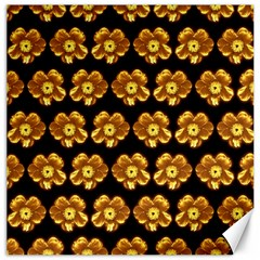 Yellow Brown Flower Pattern On Brown Canvas 16  X 16