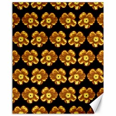 Yellow Brown Flower Pattern On Brown Canvas 16  X 20