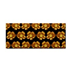 Yellow Brown Flower Pattern On Brown Cosmetic Storage Cases