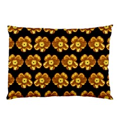 Yellow Brown Flower Pattern On Brown Pillow Case