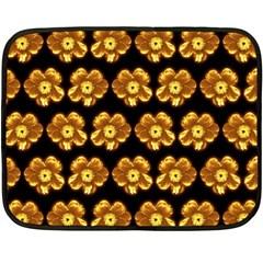 Yellow Brown Flower Pattern On Brown Double Sided Fleece Blanket (mini)  by Costasonlineshop