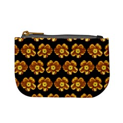 Yellow Brown Flower Pattern On Brown Mini Coin Purses