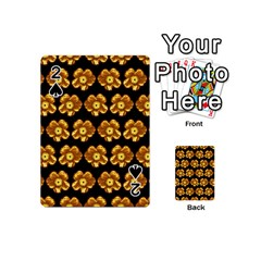 Yellow Brown Flower Pattern On Brown Playing Cards 54 (Mini)  by Costasonlineshop