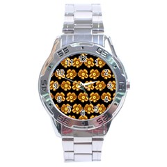 Yellow Brown Flower Pattern On Brown Stainless Steel Analogue Watch by Costasonlineshop