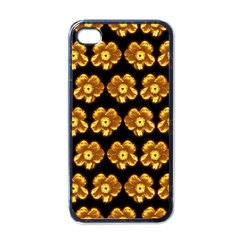 Yellow Brown Flower Pattern On Brown Apple Iphone 4 Case (black) by Costasonlineshop