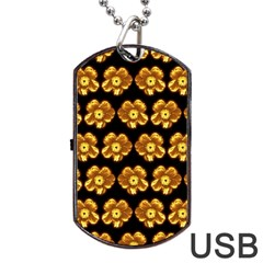 Yellow Brown Flower Pattern On Brown Dog Tag Usb Flash (one Side) by Costasonlineshop