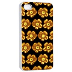 Yellow Brown Flower Pattern On Brown Apple Iphone 4/4s Seamless Case (white)