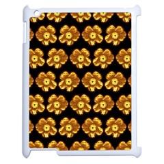 Yellow Brown Flower Pattern On Brown Apple Ipad 2 Case (white) by Costasonlineshop
