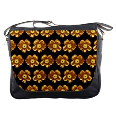 Yellow Brown Flower Pattern On Brown Messenger Bags