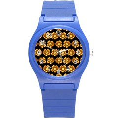 Yellow Brown Flower Pattern On Brown Round Plastic Sport Watch (s) by Costasonlineshop