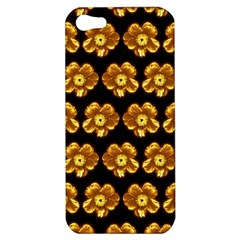 Yellow Brown Flower Pattern On Brown Apple Iphone 5 Hardshell Case by Costasonlineshop