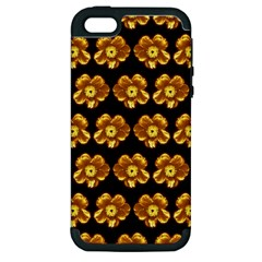Yellow Brown Flower Pattern On Brown Apple Iphone 5 Hardshell Case (pc+silicone) by Costasonlineshop