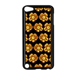Yellow Brown Flower Pattern On Brown Apple Ipod Touch 5 Case (black) by Costasonlineshop