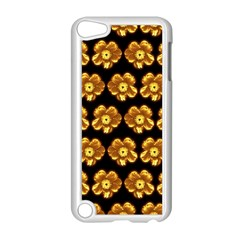 Yellow Brown Flower Pattern On Brown Apple Ipod Touch 5 Case (white) by Costasonlineshop